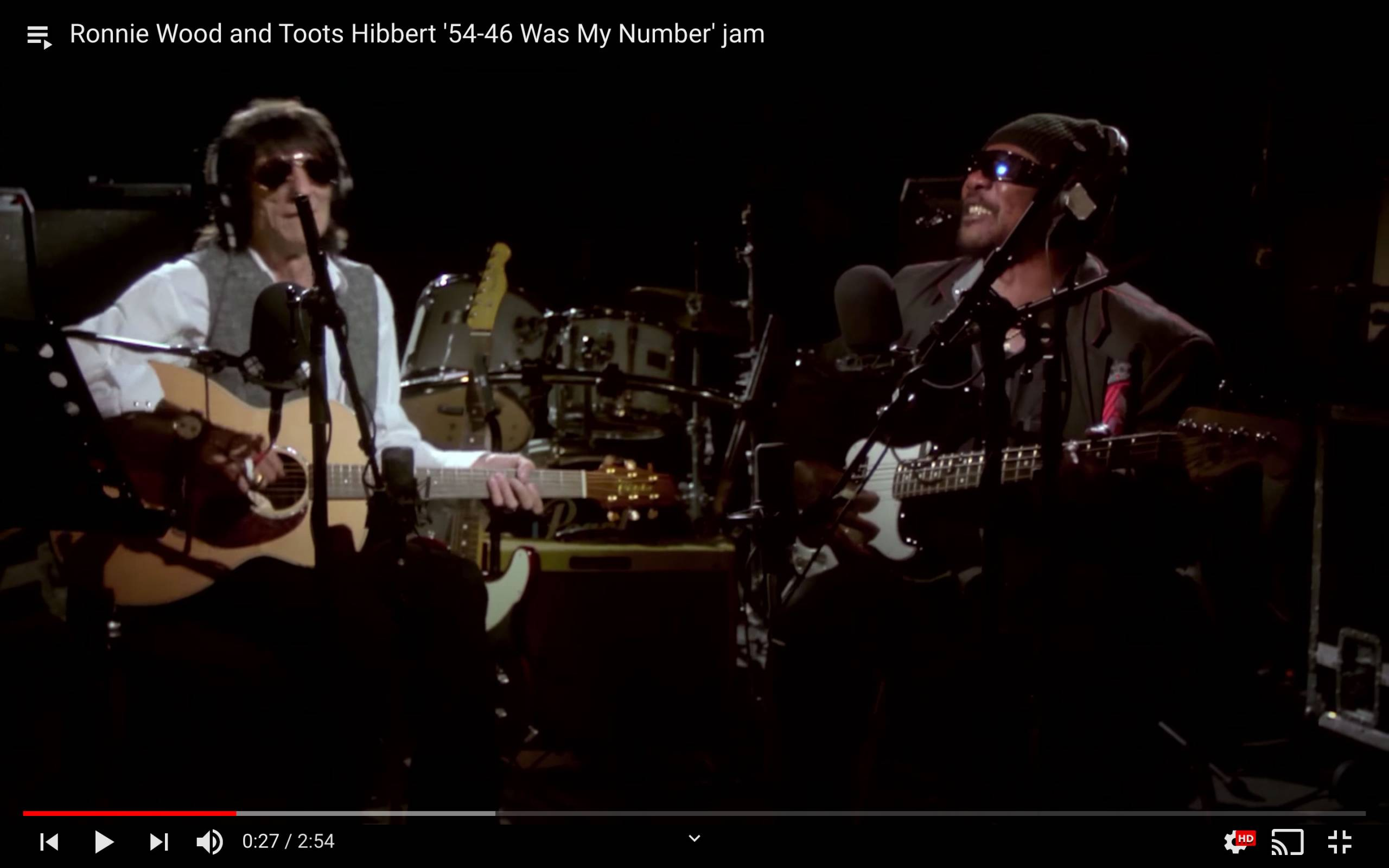Ronnie Wood and Toots Hibbert '54-46 Was My Number' jam